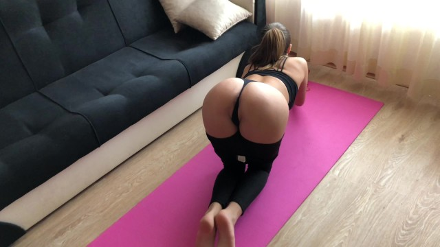 Erotic pain during sex Yoga girl receive rough anal fuck during training. hd