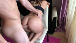 Yoga girl receive rough anal fuck during training. HD Reverse spanking