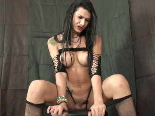 Latina shemale prison inmate Andressa Buen masturbates in her cell