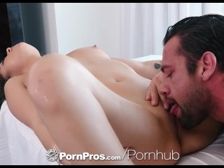 PornPros Massage fuck with inked up shaved brunette Shane Blair