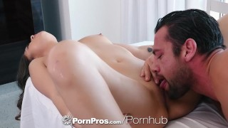 PornPros Massage fuck with inked up shaved brunette Shane Blair Natural pussy