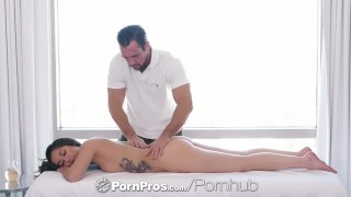 PornPros Massage fuck with inked up shaved brunette Shane Blair Tits orgasm