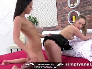 Preview 5 of Lesbian Anal - Jenny Simons treats Vanessa Twain to some anal toy action