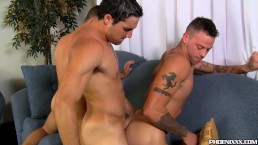 Three nasty studs pumpming their holes with big stiff cocks