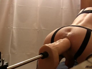 Sissy is drilling ass of Hung using a sex-machine