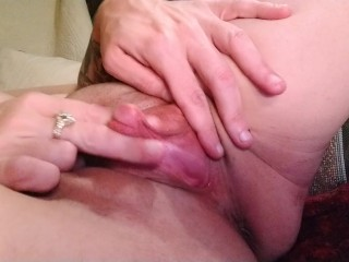 Stroking my big erect clit to orgasm