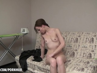Small Tits, Big Bush, Sexy Masturbation Babe
