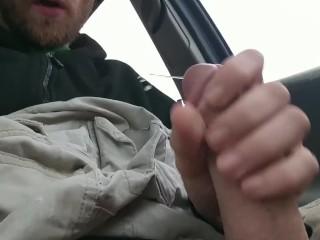 Big cock shoots huge load in drug store parking lot