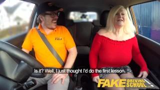 Fake Driving School Busty mature MILF sucks and fucks lucky instructor