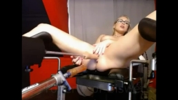Double penetration celebration hot blonde on fuckmachine