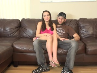 Hussie Auditions: Big boobed brunette babe Ashly Anderson gets creampied!