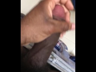 College student jerks big black dick while fraternity roommates are sleep