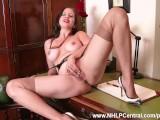 Busty brunette Tindra Frost masturbates in her vintage black seam nylons