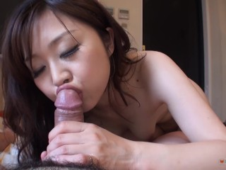 Mom Son Cum Japanese beauty play with cock in close up & spit swallowed cum