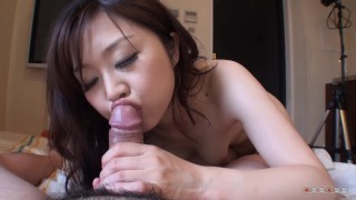 Japanese beauty play with cock in close up & spit swallowed cum