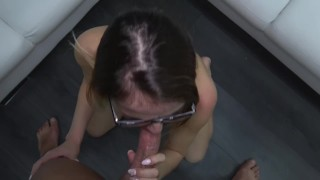 Happy mom ride huge cock like crazy before get glasses cum covered