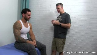 Muscular hunk tied up to a bed while his body is tickled hard Feet cumshot