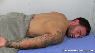 Muscular hunk tied up to a bed while his body is tickled hard Michael young