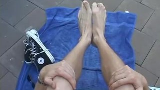 Blonde jock Jason sukcing his own hot feet outdoors College amateur