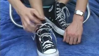 Blonde jock Jason sukcing his own hot feet outdoors Doggy ink