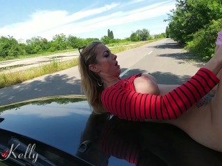 Hooker fucked on the car hood for cash in a public street