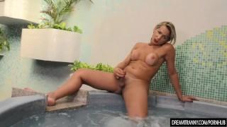 Horny Tranny Pamela Lenvisk Masturbates Her Big Cock in a Whirl Pool Tub Teens big