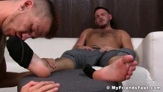 Jock is relaxing while his gay lover massage and licks his feet Hairy chubs