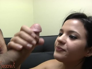 Sexy Latina Babe Rents An Office Where She Blows Cock In The Camera