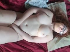 Chubby redhead masturbates after work