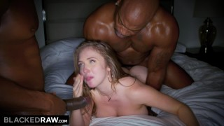 BLACKEDRAW Big titty white girl gets double teamed by BBCs Doggystyle daughter