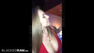 BLACKEDRAW Big titty white girl gets double teamed by BBCs Pov cowgirl