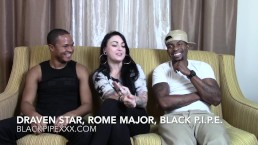 Tattooed Porn Hottie Draven Star Chats w/ Studs Rome Major & Black Pipe