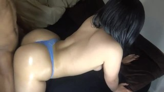 Big booty redbone in a thong & getting smashed!