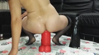 Gigantic dildo fucking extreme amateur MILF