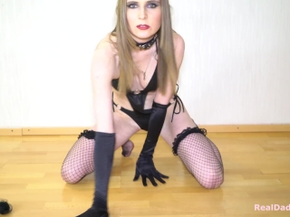 Hot striptease black lingerie, bottle fuck, Rammstein moves