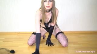 Hot striptease: black lingerie, bottle fuck, Rammstein moves