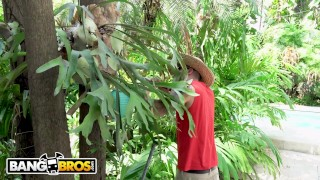 Preview 2 of BANGBROS - Gardener Bruno Dickemz Fucks Latina Pornstar Valerie Kay