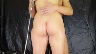 Without penetration in the shower - pussyjob legjob handjob with anal plug Tits cowgirl