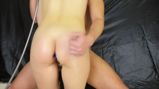 Without penetration in the shower - pussyjob legjob handjob with anal plug Kink dildo