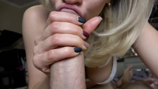 Teen Sloppy Deepthroat Big Cock POV, 4K (Ultra HD) - Kriss Kiss Cum mouth