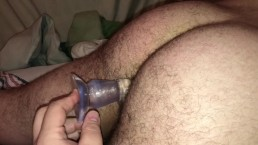 Breaking in my man's new birthday toy, or, How To Train Your Cub Bottom