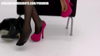 Busty brunette milf puts on leather boots to compliment panties and nylons porno
