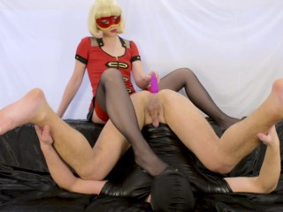 Blonde milf prostate milking with strapon femdom foot worship and cum play