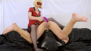 Blonde milf prostate milking with strapon, femdom foot worship and cum play  strap on prostate massage femdom strapon prostate milking femdom milking pegging strapon femdom prostate prostate orgasm foot worship strapless dildo femdom pegging femdom foot slave foot slave cum play