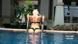 Подсматривал за ней в бассейне затем кончил на нее