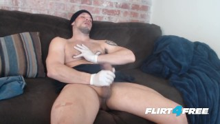 Allen Cole on Flirt4Free Hunk w Latex Gloves and Nipple Fetish Jerks Hard