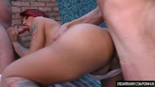 Two Guys Tag Team Tranny Redheads Mouth and Ass porno