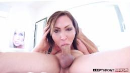 Big Tits Aussie YASMIN SCOTT Big Cock Gagging Deepthroat Blowjob & Swallow!