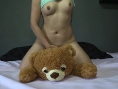 Sweet girl plays fucks and squirts her teddy bear - agatha dolly