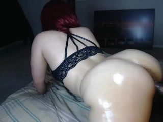 Sexy ass redbone throws it back on hard cock & makes him cum hard!